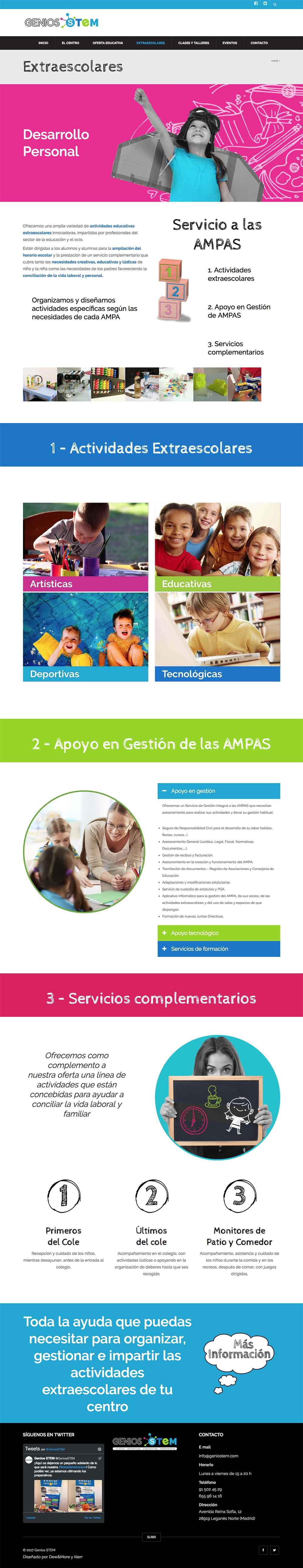 web Genios Stem, centro educativo