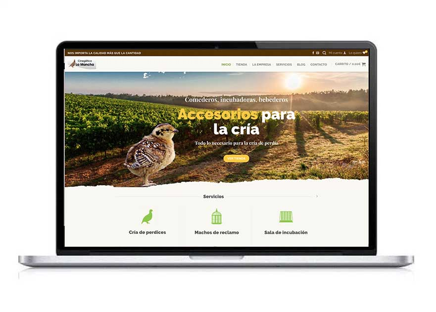 Ecommerce Cinegética La Mancha. Portafolio diseño web. Clara Ortega. Aclararte
