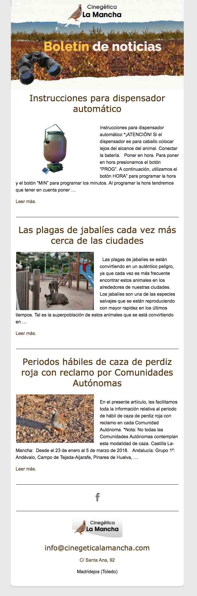 Mailing Cinegética La Mancha. Portafolio diseño web. Clara Ortega. Aclararte