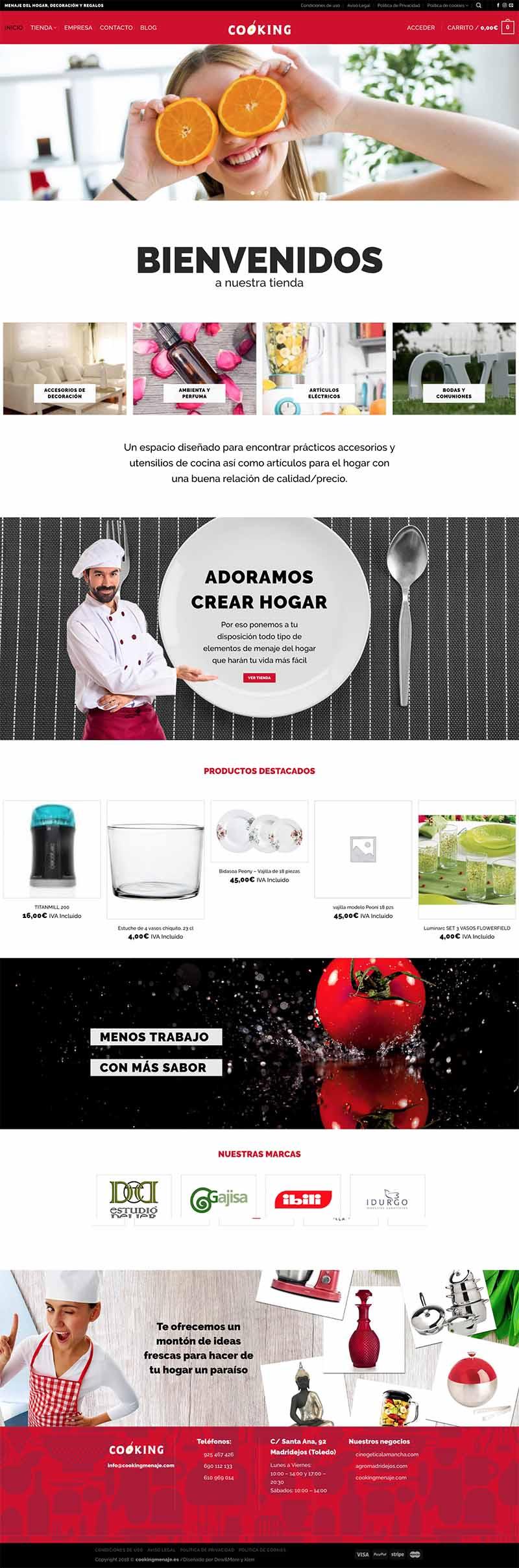 Diseño web comercio electrónico cooking