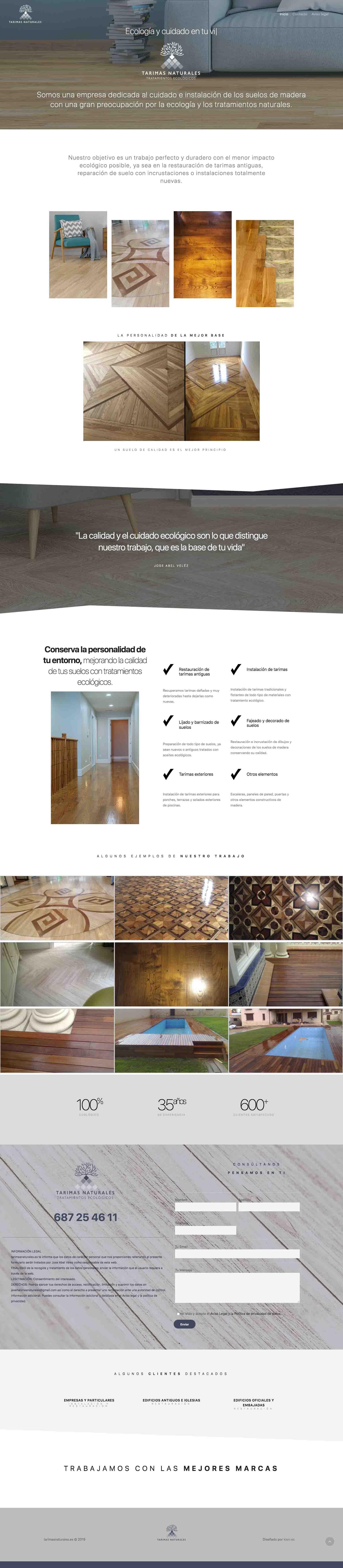 Tarimas naturales diseño web. aclararte