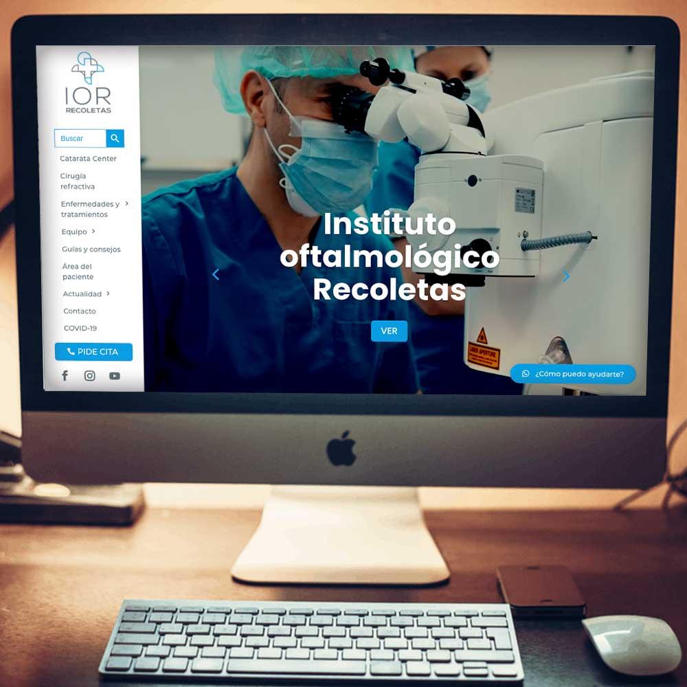 Web corporativa Instituto Oftalmológico Recoletas. Estudio Aclararte para Bendit-thinking.