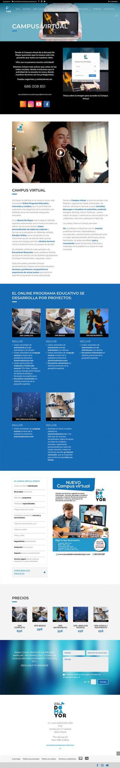 Ecommerce de Escuela de Música Do Mayor con Ecommerce, Elearning y mantenimiento. Estudio Aclararte.